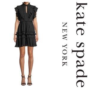 New Kate Spade Bakery Dot Devore Dress In Black